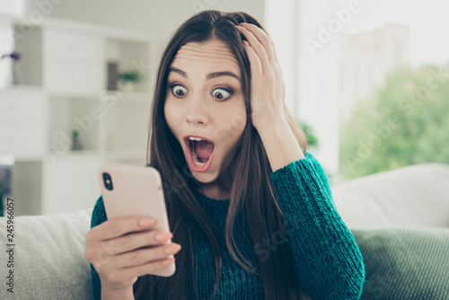 Foto auf Leinwand Akt Closeup photo portrait of mad with funny facial expression beautiful with pop big large staring looking at device gadget telephone eyes she her lady touching head with hand using holding mobilephone