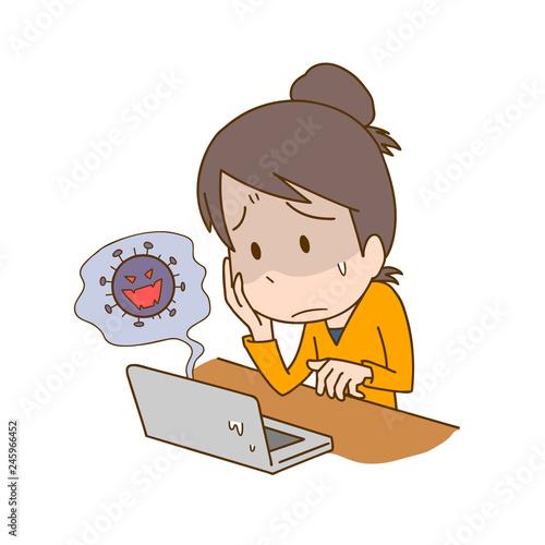Poster Cars パソコン ウイルス コンピュータ 女性 困る 悩み