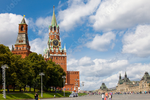 Wall Murals Moscow Moscow, Russia, summer cityscape of Red Square and the Spassky Tower