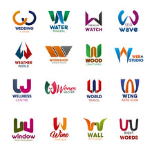 W Letter Icons And Signs Creative Fonts Vector