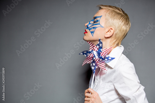 Independence Day  woman with Pinwheel in national american flag colors Canvas Print