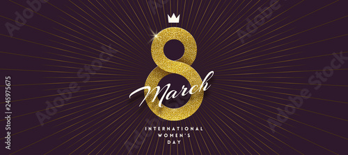 Fotografía 8 March International women's day greeting card - shining glitter gold ribbon in the shape of sign eight