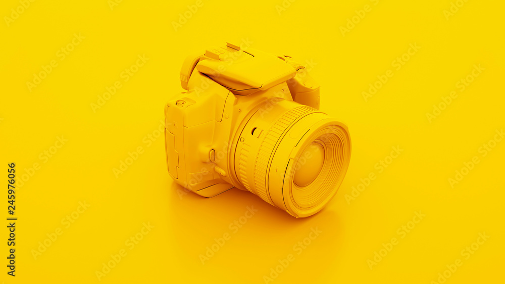 Fototapeta Yellow DSLR Camera. 3D illustration
