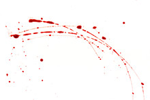 Bloody Splashes And Drops On A White Background. Dripping And Following Red Blood (paint)