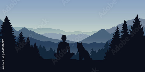Poster Gris man and his dog are looking into the distance on a mountain landscape vector illustration EPS10