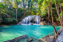 Erawan Waterfall In Thailand. Beautiful Waterfall With Emerald Pool In Nature.
