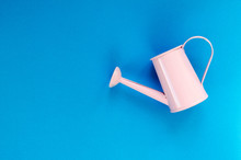 Pink Small Watering Can On Blu...