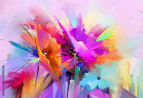 Stampa su Tela Abstract colorful oil, acrylic painting of spring flower