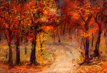 FototapetaOil painting colorful autumn trees. Semi abstract image of forest, aspen trees with yellow - red leaf and lake. Autumn, Fall season nature background. Hand Painted Impressionist, outdoor landscape