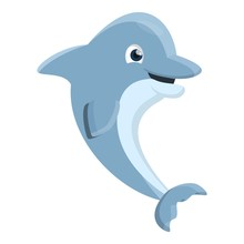 Playful Dolphin Icon. Cartoon ...