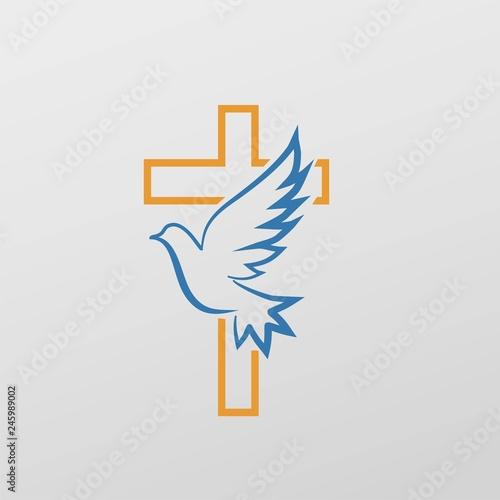 Cross dove symbol Wall mural