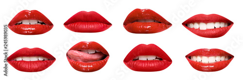 Slika na platnu Set of mouths with beautiful make-up isolated on white