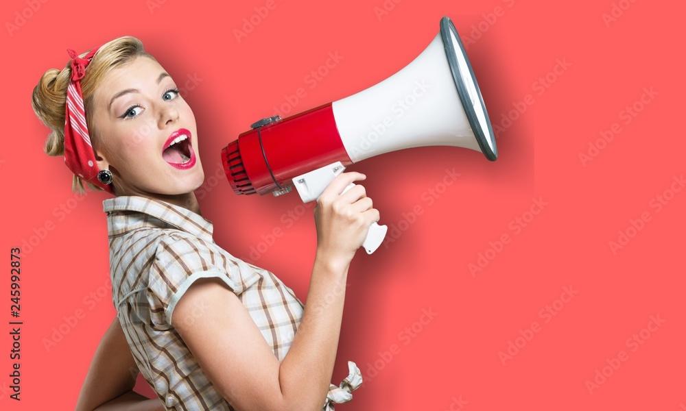 Fototapeta Megaphone attention background advertisement amplifier announce