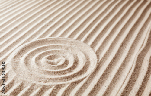 Recess Fitting Zen Zen garden pattern on sand. Meditation and harmony