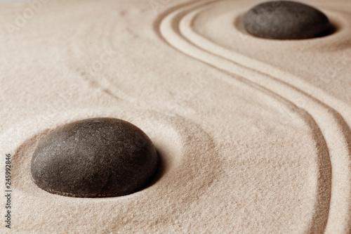 Deurstickers Stenen in het Zand Zen garden stones on sand with pattern. Meditation and harmony