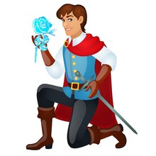 Young Handsome Prince With A Sword Holding An Ice Rose Isolated On White Background. Vector Cartoon Close-up Illustration.