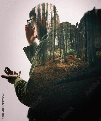 Fotografija Double exposure with bearded traveler and dense forest