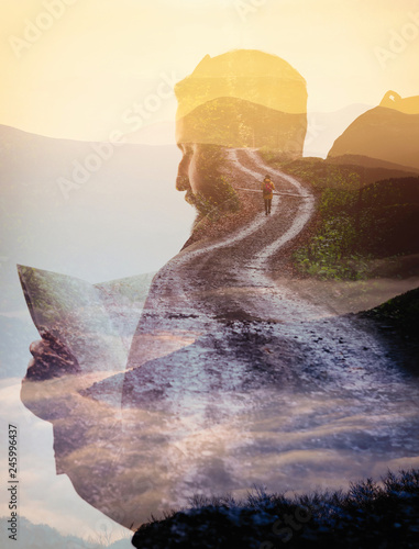 Double exposure with bearded traveler, road and mountain. Metaphor of travel.