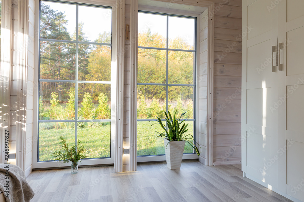 Fototapety, obrazy: Bright photo studio interior with big window, high ceiling, white wooden floor