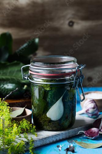 Preparing fermented and vegetarian preserved food, cucumbers