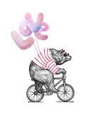 Cool Bear w okularach przeciwsłonecznych Ride Bicycle Balloons Love. Rocznik maskotki ślicznej zabawy grizzly cyklu walentynek dnia karta. Szkic postaci zwierzęcej. Zarys grunge miś płaski wektor ilustracja. - 245999436