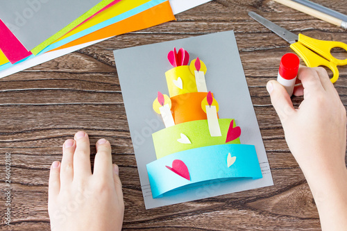 The Child Glue Greeting Card With Birthday Cake Congratulation Childrens Art Project Craft For Kids