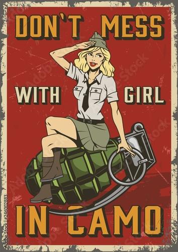 Retro military colorful poster фототапет