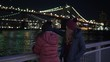 Wonderful place in New York at night the illuminated Brooklyn Bridge