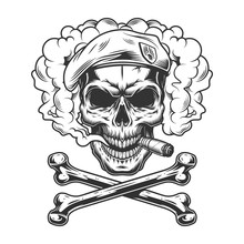 Navy Seal Skull Wearing Beret And Smoking Cigar