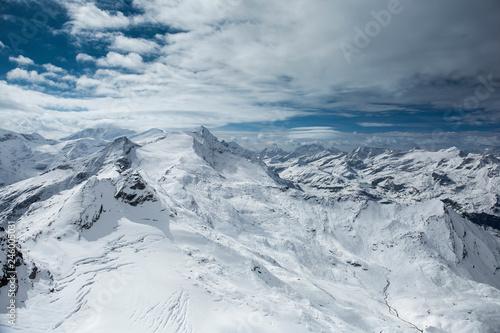 Fototapety, obrazy: Winter view from the top of Kitzsteinhorn mountain, Kaprun ski resort, National Park Hohe Tauern, Austrian Alps, Europe.