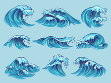 Hand Drawn Ocean Waves. Sketch Sea Tidal Blue Waves Tide Splash Hand Drawn Surfing Storm Wavy Water Doodle Vintage Set