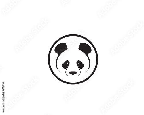 Fototapeta premium logo pandy czarno-biała głowa