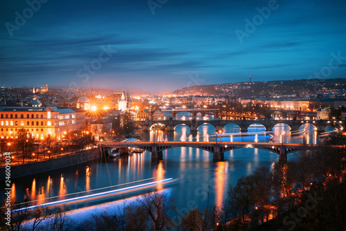 Fotobehang Centraal Europa Prague cityscape at night. Aerial view of the bridges on the Vltava river