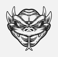 Dragon Head Line Art In Comic Book Style
