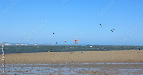 kitesurfers in Portland Harbour