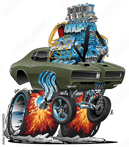 Garden Poster Cartoon cars Classic American Muscle Car Hot Rod Cartoon Vector Illustration