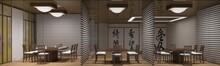 Chinese Restaurant, Sushi Bar, Interior Visualization, 3D Illustration