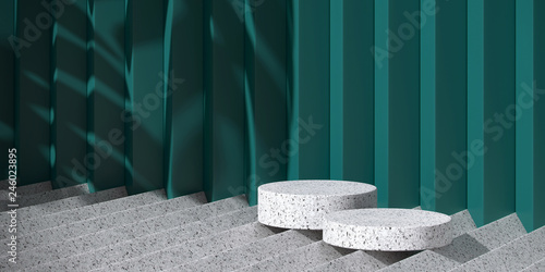 Cosmetic background for product presentation. white terrazzo podium on grey terrazzo geometry form and green background with shadow of leaf. 3d rendering illustration.