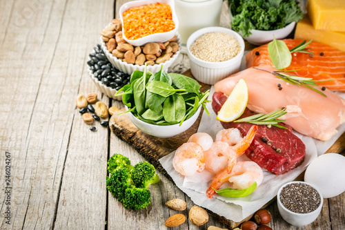 Selection of animal and plant protein sources - fish, meat