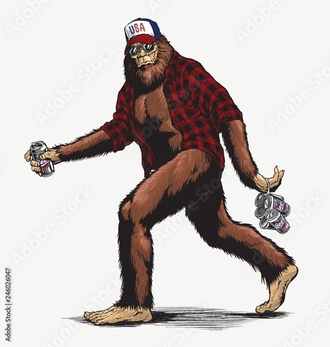 Walking USA American hillbilly Sasquatch vector illustration in full color - Vector