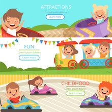 Amusement Park Banners. Family And Happy Kids Walking And Playing Games In Different Attractions Vector Cartoon Template. Illustration Of Childhood Entertainment, Recreational Train And Car