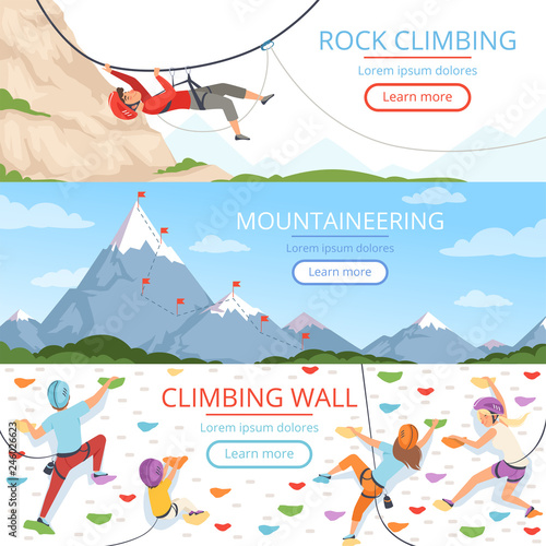 Fototapeta Mountain climbing pictures. Rope carabiner helmet rockie hills people extreme sport vector banners template with place for text. Illustration of mountain climbing sport, mountaineer extreme adventure obraz