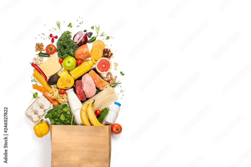 Fototapeta Grocery shopping concept - meat, fish, fruits and vegetables with shopping bag, top view