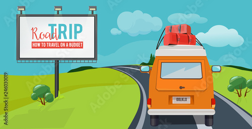 Road trip. Adventure concept with vacation travel driving car on highway vector urban landscape cartoon. Illustration of trip road, journey and adventure travel