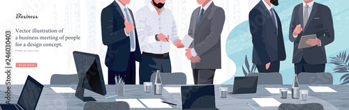 Obraz Vector illustration for business and finance. Informal meeting of business people, entrepreneurs and managers of the company. - fototapety do salonu
