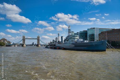 LONDON, UK - SEPTEMBER 9, 2018: Military Cruiser Belfast (HMS Belfast) is the pr Wallpaper Mural