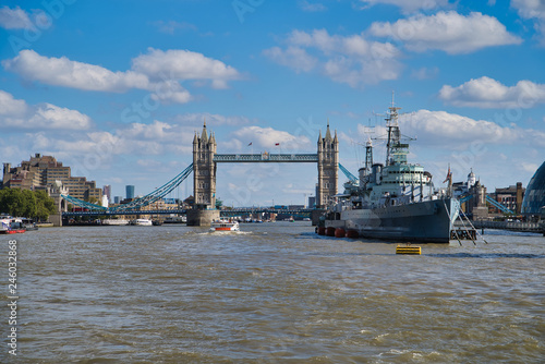 LONDON, UK - SEPTEMBER 9, 2018: Military Cruiser Belfast (HMS Belfast) is the pr Canvas Print