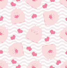 Kid Fashion Graphic With Smile Pink Hamster Or Guinea Pig With Heart. Vector Hand Drawn Illustration.  Baby Seamless Pattern Print. St Valentine Day Love Textile Design With Cute Animal On Color Wave.