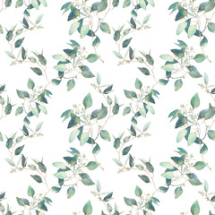 NaklejkaWatercolor eucalyptus branches seamless pattern. Hand painted floral repeating texture on white background.