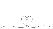 Heart Background Valentine Day Design, One Line Draw Vector Illustration.